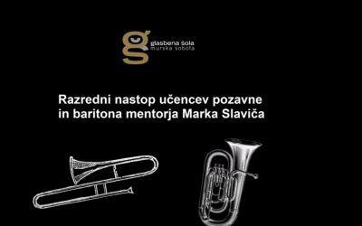 Razredni nastop učencev in učenke pozavne in baritona mentorja Marka Slaviča v juniju 2020